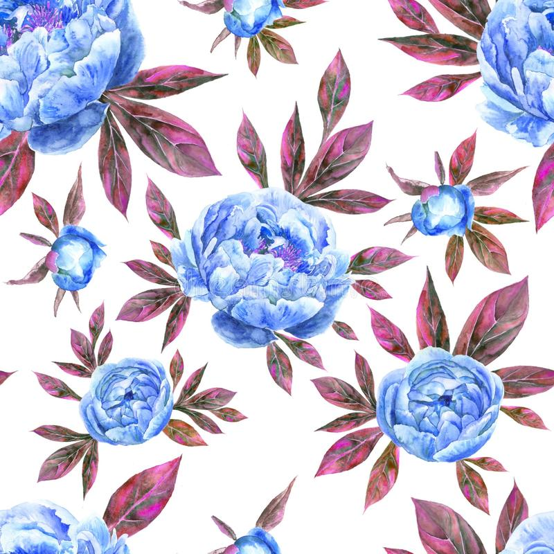 Watercolor hand drawn peone vintage seamless pattern with peony flowers and leaves royalty free stock photo