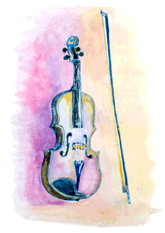 Watercolor hand drawn violin and a bow stock illustration