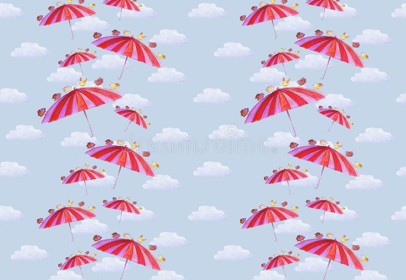 Watercolor hand drawn wallpaper with anime umbrella, bird and clouds on the blue background. Pattern about birds carrying umbrella for used as card, decoration vector illustration