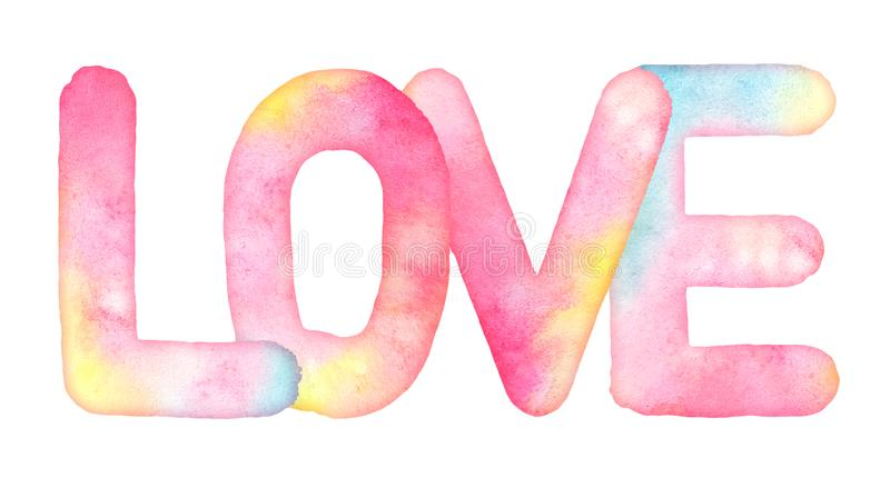 Watercolor hand drawn word LOVE. With strains isolated on white background. Useful as design element for greeting, Valentine`s day, wedding cards, fabric stock illustration