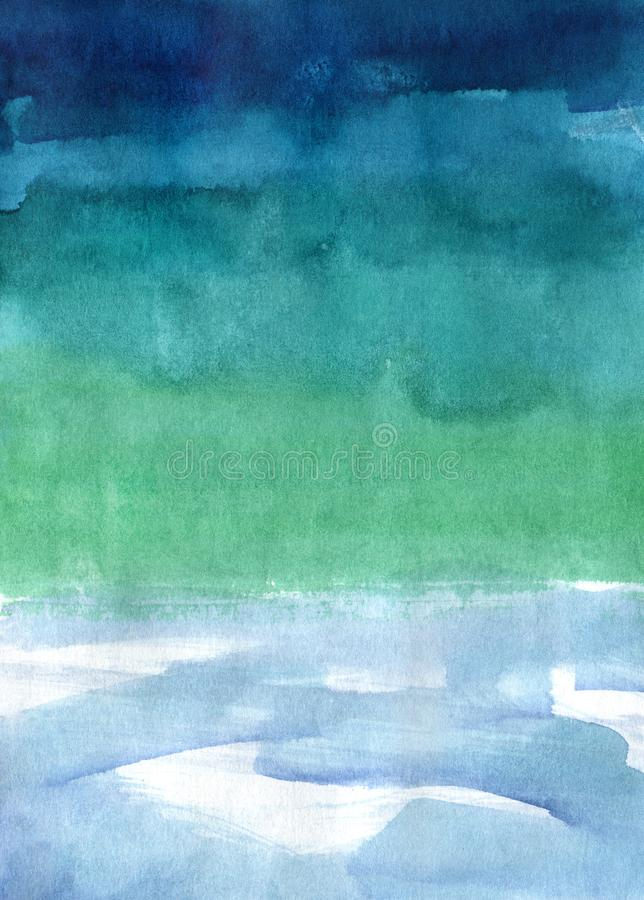 Watercolor abstract texture on paper, color dark blue and green gradient. Watercolor hand-made abstract texture on paper, color dark blue and green gradient royalty free stock photo