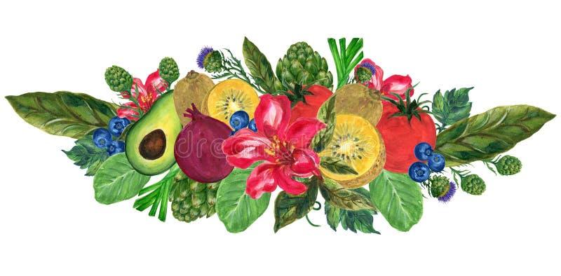 Watercolor hand paint elements eco food organic cafe menu design. natural fresh fruits and vegetable illustration stock illustration