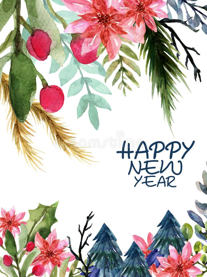 Watercolor hand paint Happy New Year and Christmas Flower plants invitation card set illustration royalty free illustration