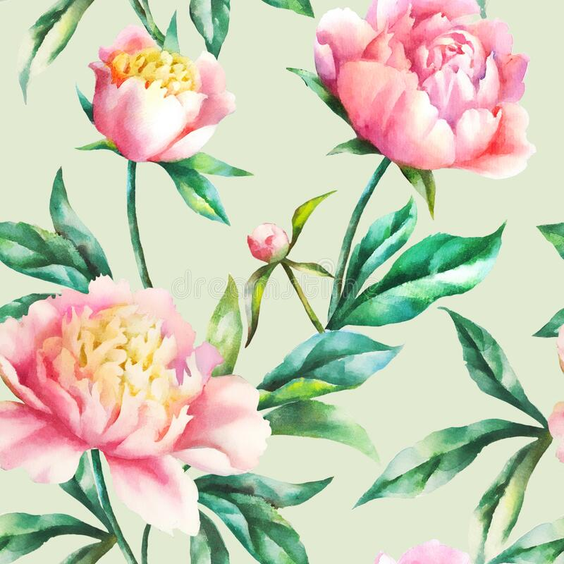 Watercolor hand paint pink peonies and leaves, seamless pattern. Watercolor hand paint pink peonies and leaves, vintage seamless pattern stock illustration