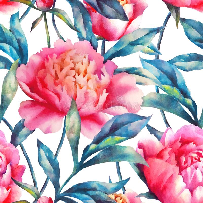 Watercolor hand paint pink peonies and leaves, seamless pattern. Watercolor hand paint pink peonies and leaves, vintage seamless pattern vector illustration