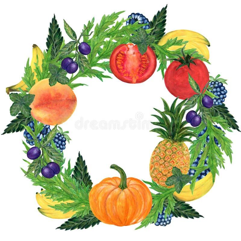 Watercolor hand paint set eco food organic helthy cafe menu design. natural fresh fruits and vegetable illustration royalty free illustration