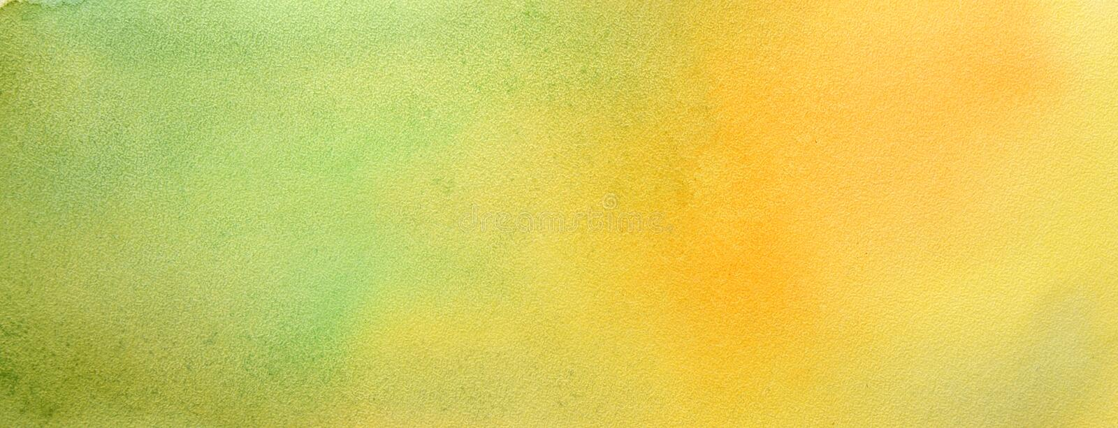 Watercolor hand painted abstract brush strokes pattern. Yellow green gradient background. Autumn colors royalty free stock images