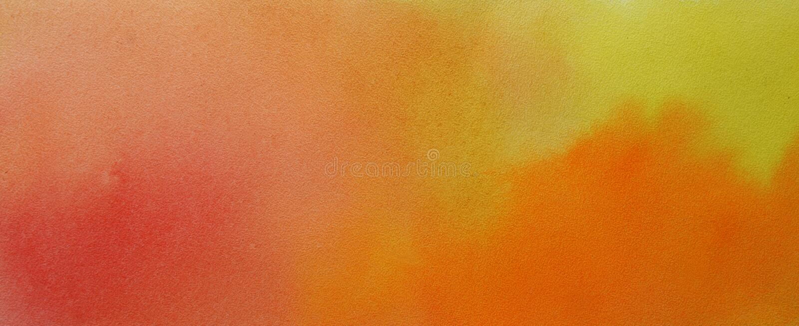 Watercolor hand painted abstract brush strokes pattern. Yellow orange red gradient background. Autumn colors stock photography