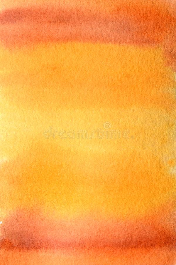 Watercolor hand painted abstract brush strokes pattern. Yellow orange red gradient background. Autumn halloween colors. Watercolor hand painted abstract brush royalty free stock photo