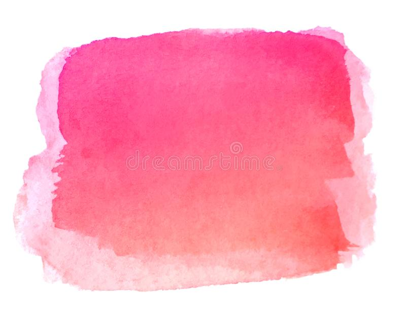Watercolor hand painted abstract pink red background. Brush stroke isolated on white background stock illustration