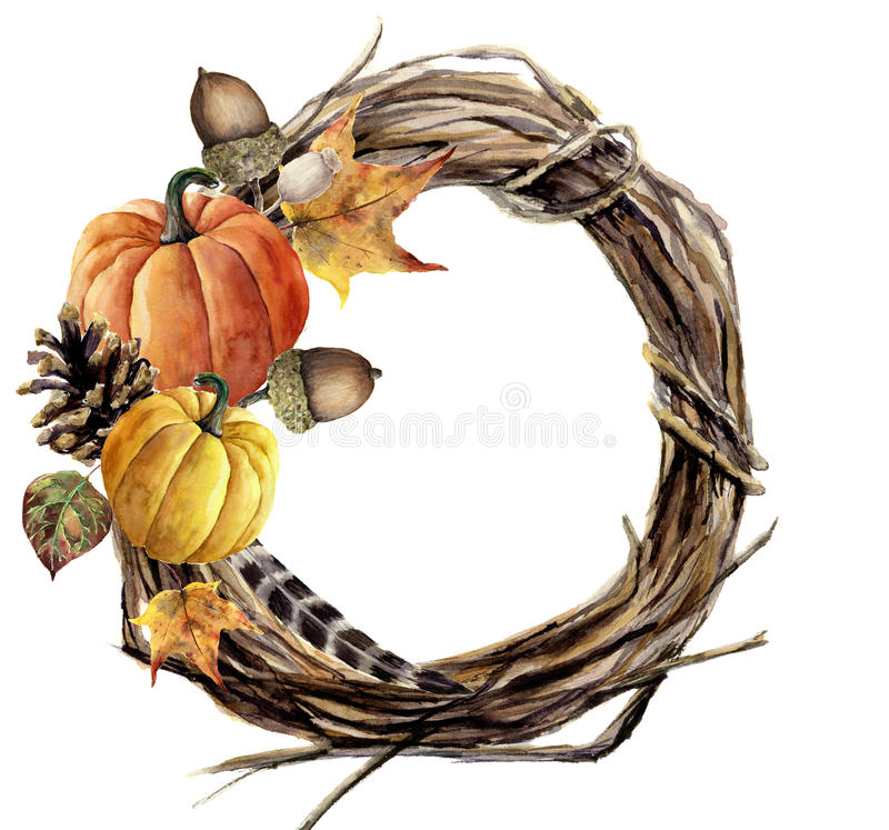Watercolor hand painted autumn wreath of twig. Wood wreath with pumpkin, pine cone, fall leaves, feather and acorn. Autumn vector illustration
