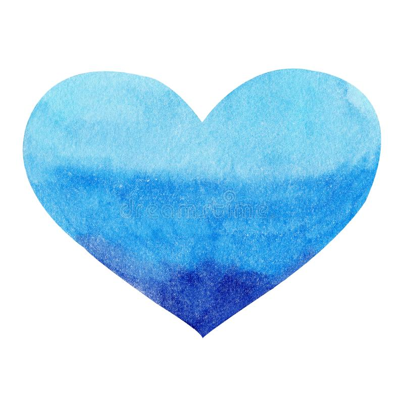 Watercolor hand painted blue heart. Symbol of love. stock illustration