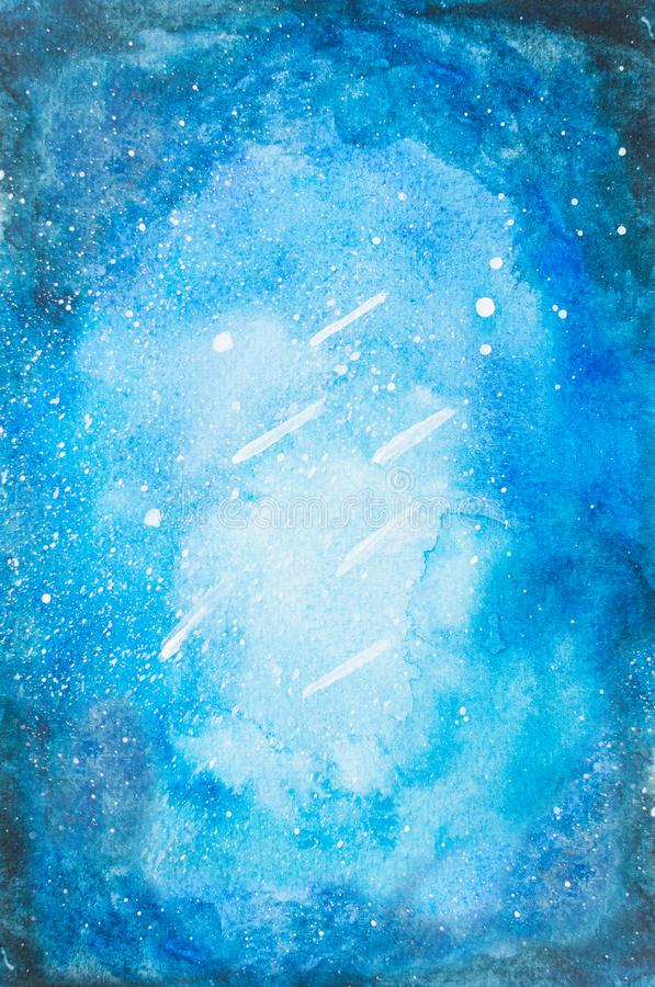 Watercolor hand painted blue night sky with falling stars and tr. Ee for print and quote background stock photography