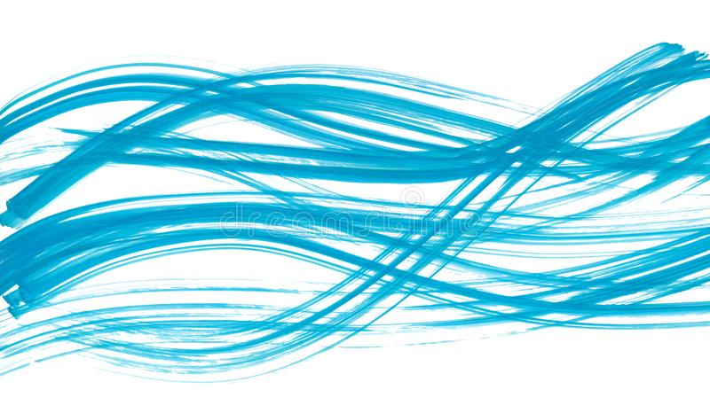 Watercolor hand painted brush strokes. Abstract blue lines background. Vivid aquarelle waves. Sea pattern. Web banner stock illustration