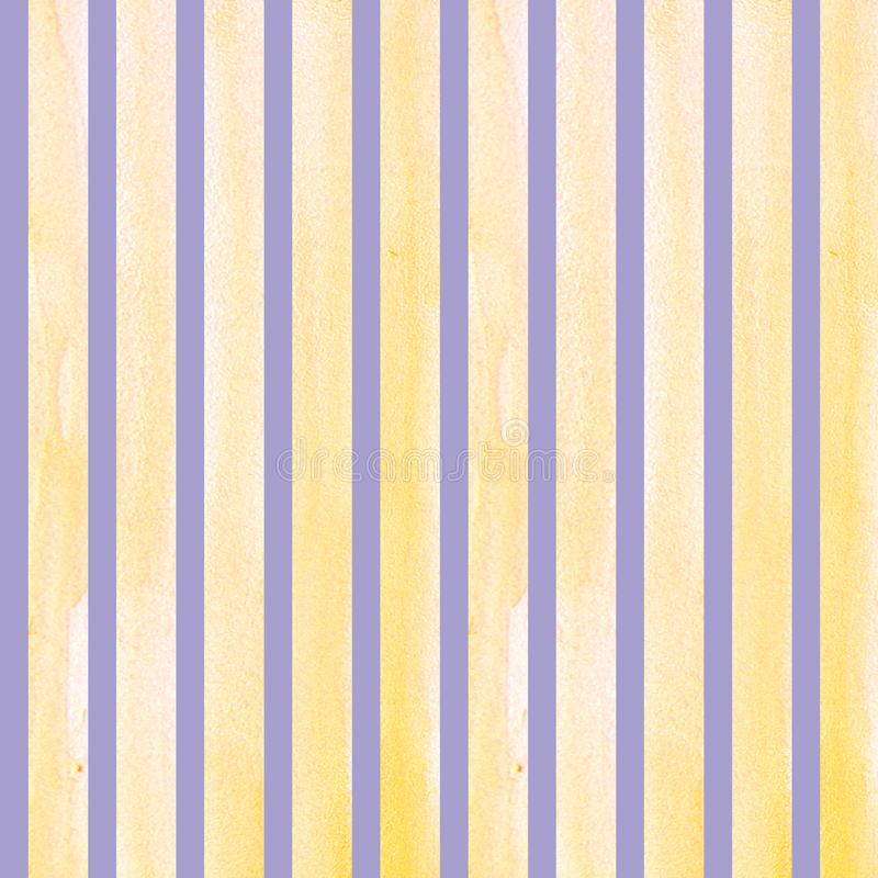 Watercolor hand painted brush strokes, line, banners, pattern. Isolated yellow stripes on purple background watercolor royalty free illustration