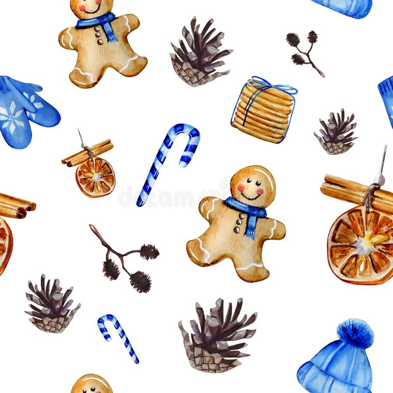 Watercolor hand painted Christmas seamless pattern including Christmas tree decoration, candies, gingerbread man, ginger cookies, royalty free illustration