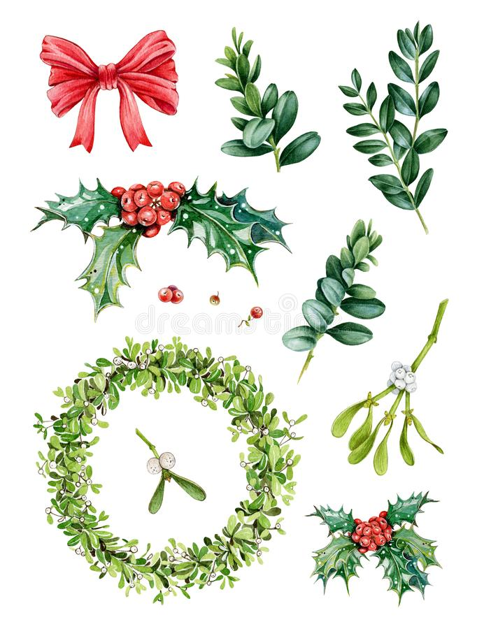 Watercolor hand painted Christmas set with evergreen tree branches, mistletoe wraeth, holly, red berries, green leaves. Watercolor hand painted Christmas set stock photos