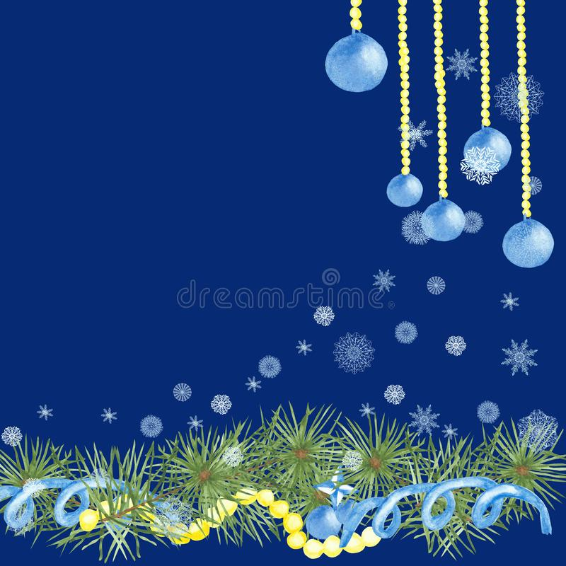 Watercolor, hand-painted, Christmas square frame, green cedar branches decorated with blue balls, garlands, white snowflakes. vector illustration
