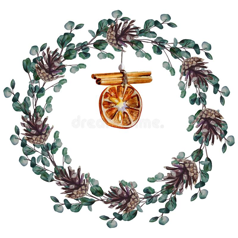 Watercolor hand painted Christmas wreath of eucalyptus branches with pine cones, and decoration with orange slice and cinnamon stock illustration
