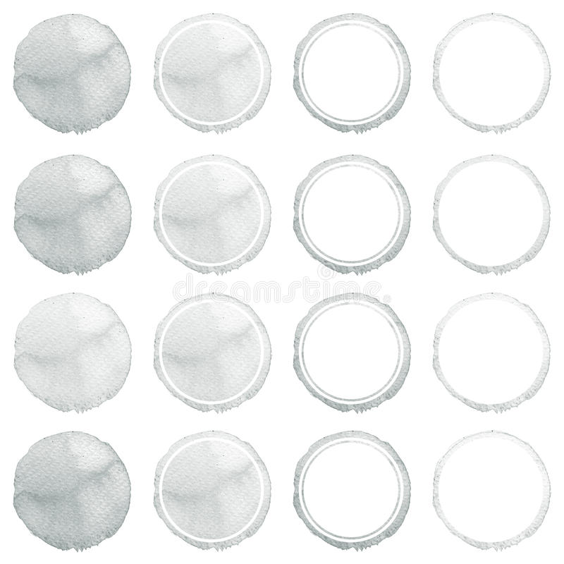 Download Watercolor Hand Painted Circle Shape Design Elements. Grey Banners Set. Stock Illustration - Image: 83721459