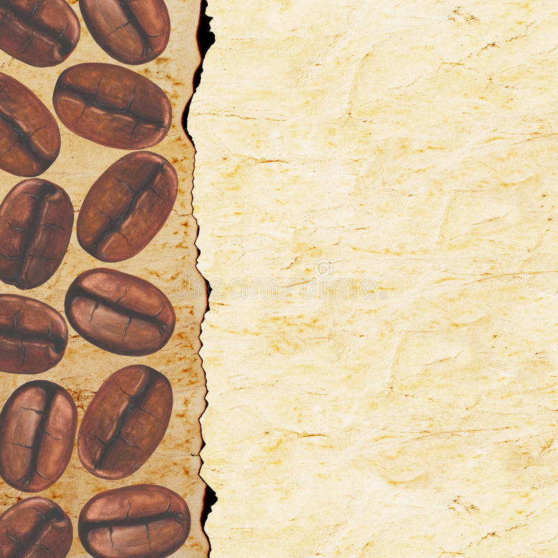 Watercolor hand painted coffee beans on old paper background. stock photo