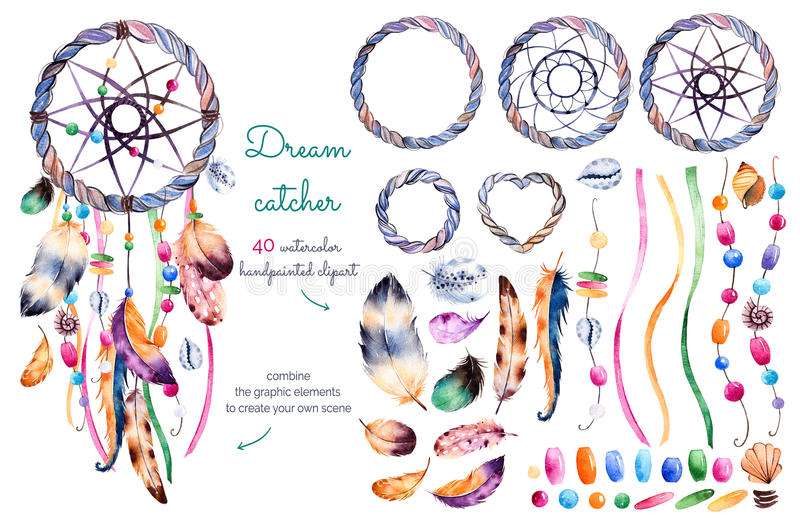 Watercolor hand painted collection with 40 elements vector illustration
