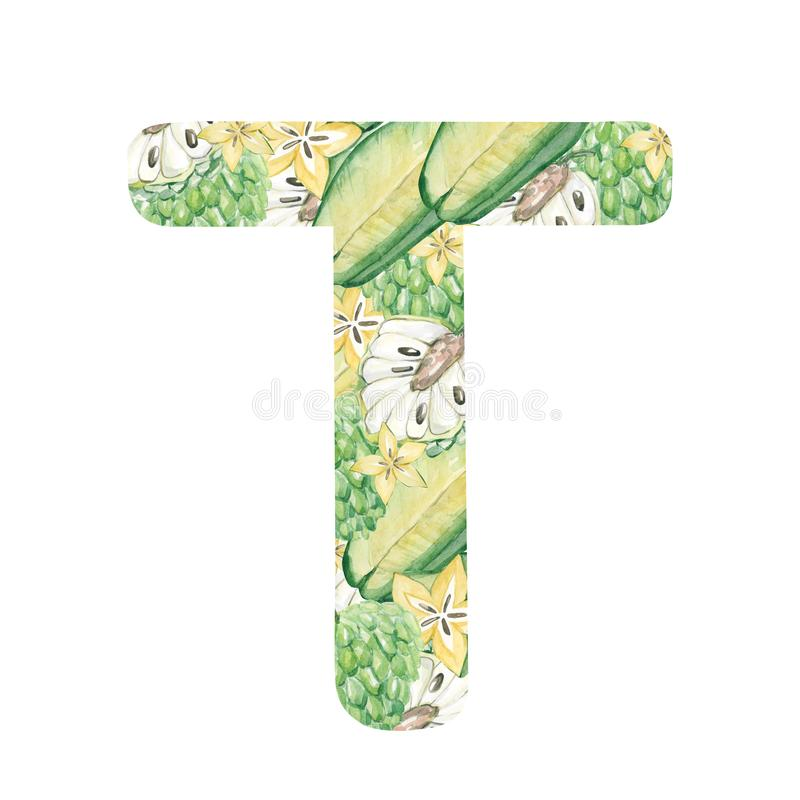 Watercolor hand painted cute alphabet letter T - in bright fruits. Trendy lettering element isolated on white. Art symbol perfect stock illustration