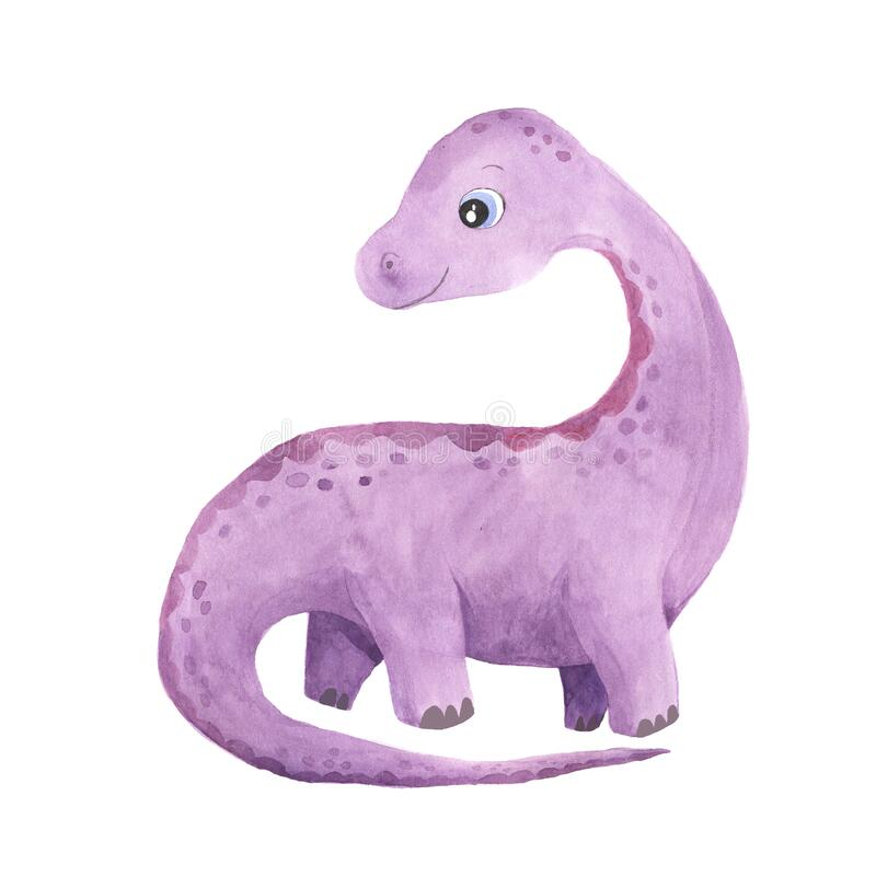 Watercolor cute little dinosaur. Watercolor hand painted cute Diplodocus Dinosaur illustration isolated on white. Cartoon childish prehistoric reptile in violet stock illustration