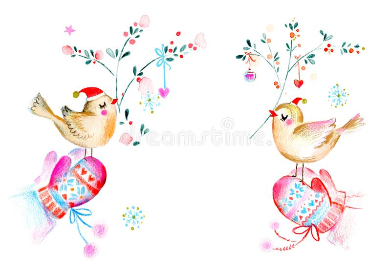 Watercolor Christmas Birds royalty free illustration