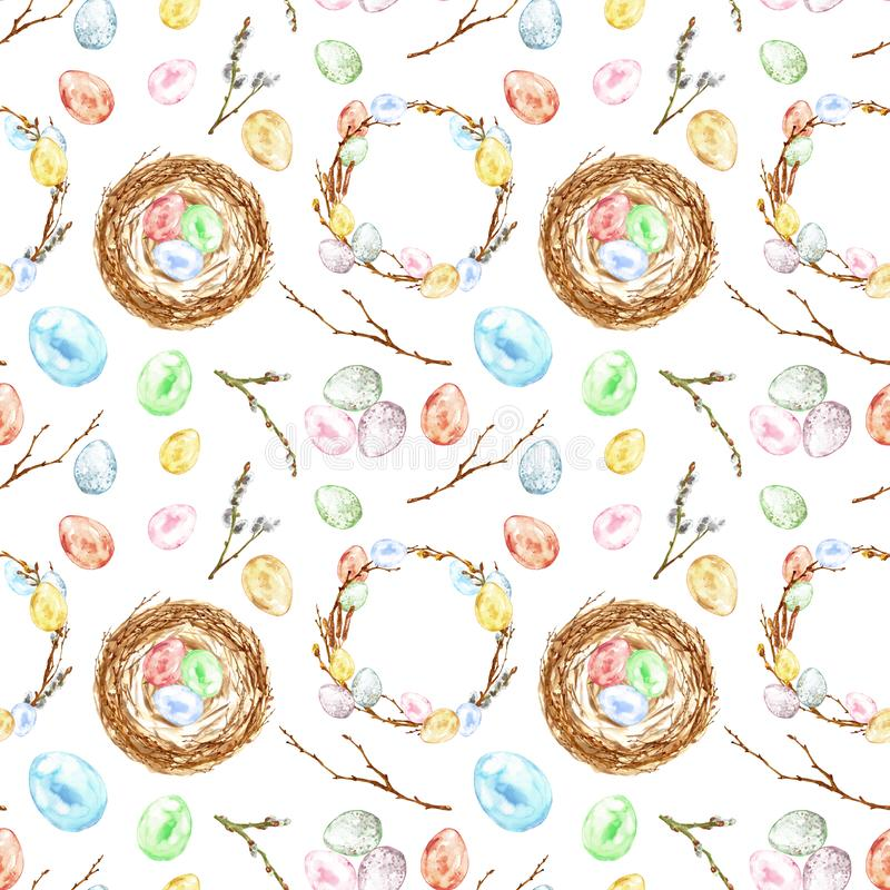Watercolor hand painted Easter seamless pattern with colored eggs, bird nest, twigs, tree branch, wreath. Decorative elements royalty free stock photos