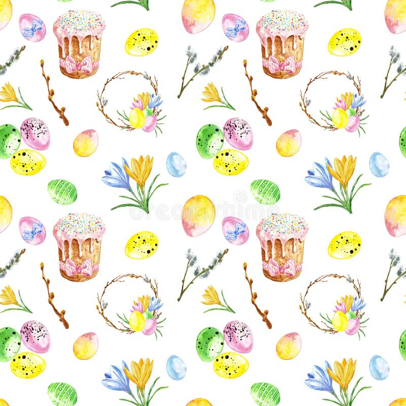 Watercolor hand painted Easter seamless pattern with colored eggs, cake, twigs, tree branch, wreath. Symbols of Easter royalty free stock photos
