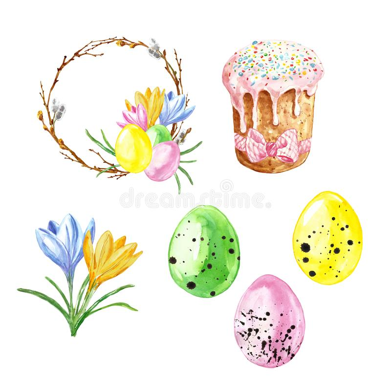 Watercolor hand painted Easter set with colored eggs, Easter cake , crocus flowers and wreath with tree branches, isolated  vector illustration