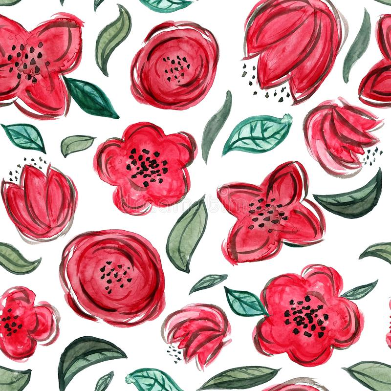 Watercolor hand painted floral seamless pattern. Red flowers and green leaves in modern style vector illustration