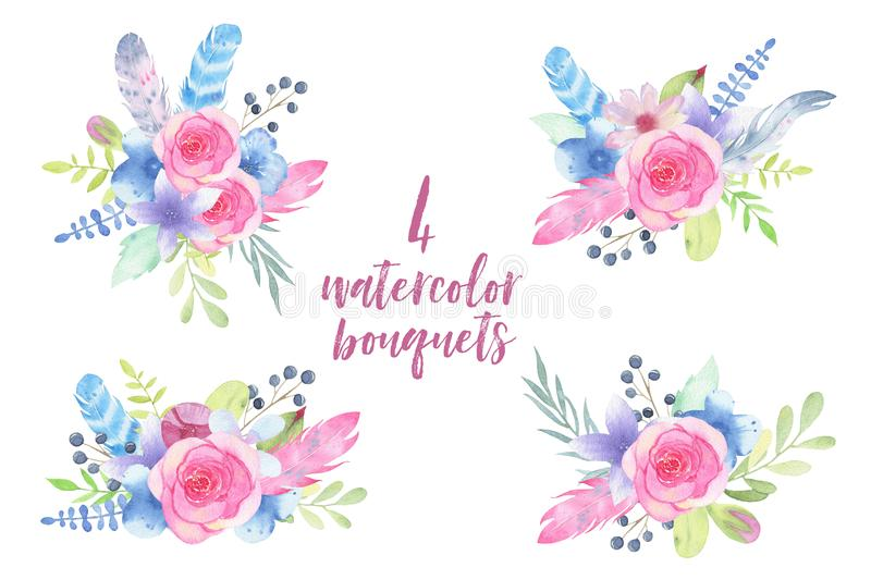 Watercolor hand painted flower wedding bouquet with feathers and leaves isolated on white background vector illustration