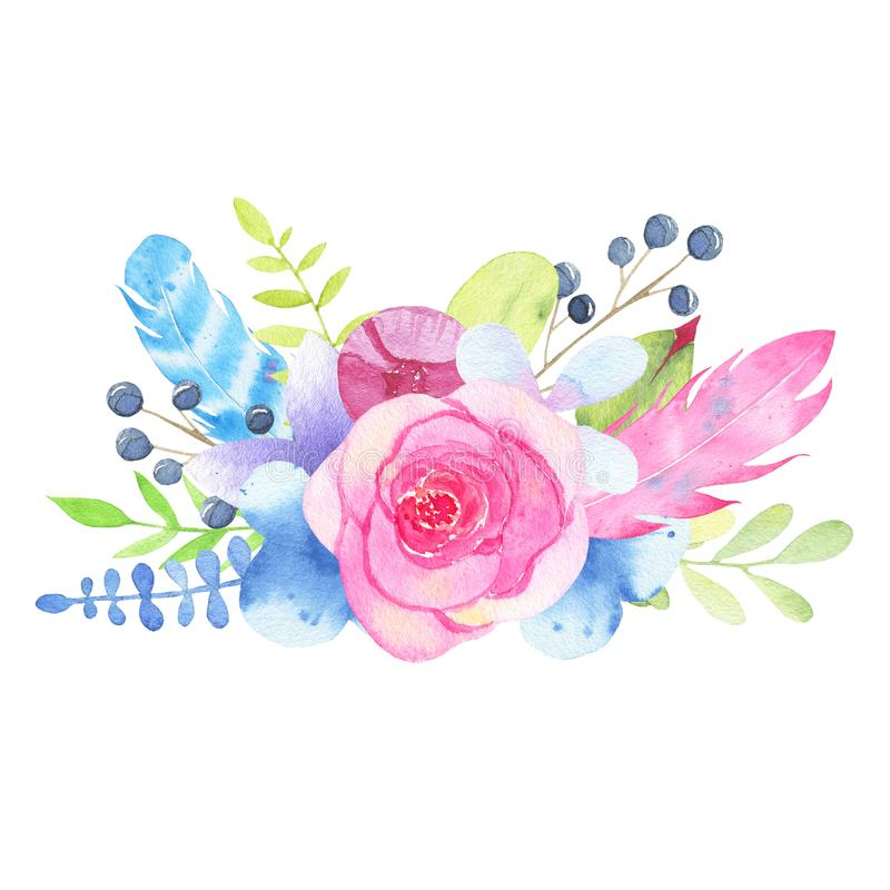 Watercolor hand painted flower wedding bouquet and leaves isolated on white background stock illustration