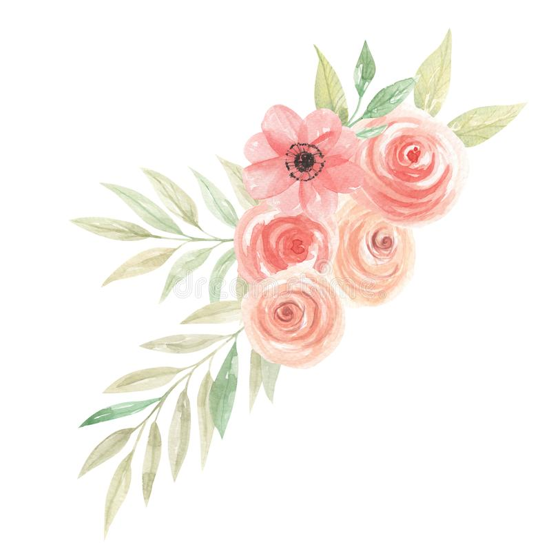 watercolor flowers peach bouquet floral coral painted arrangement