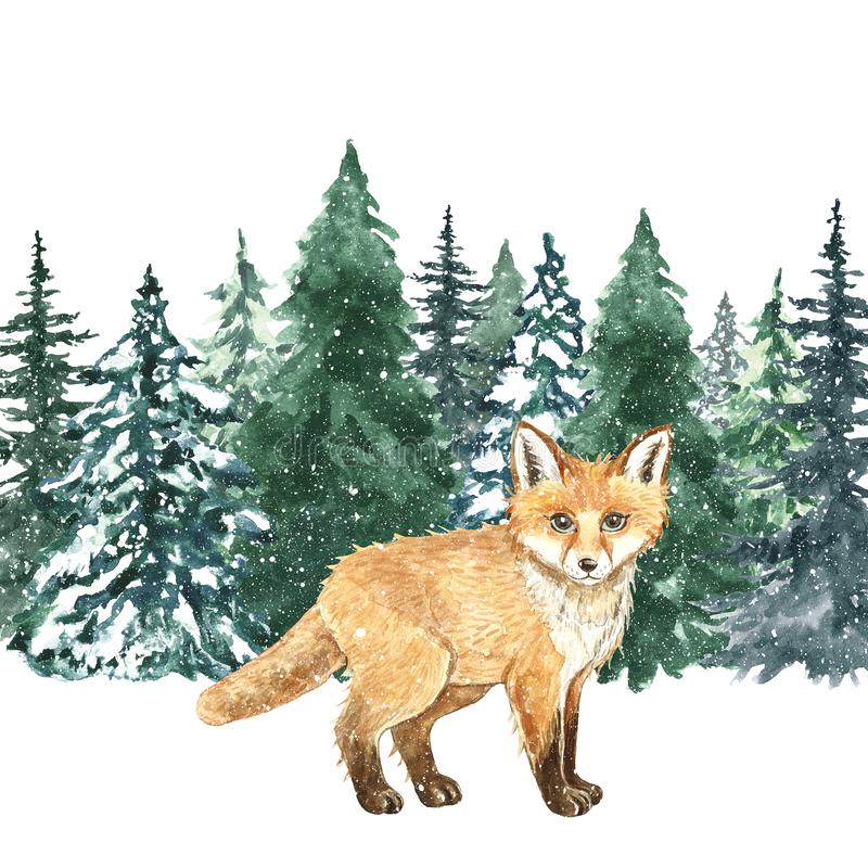 Watercolor hand painted fox in winter forest. Christmas background with little cute wild animal stock image