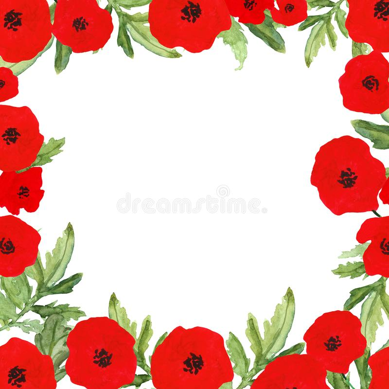 Watercolor hand painted frame with red poppy flowers, 4th of July, Independence day symbol, Memorial day patriotic decor. royalty free illustration