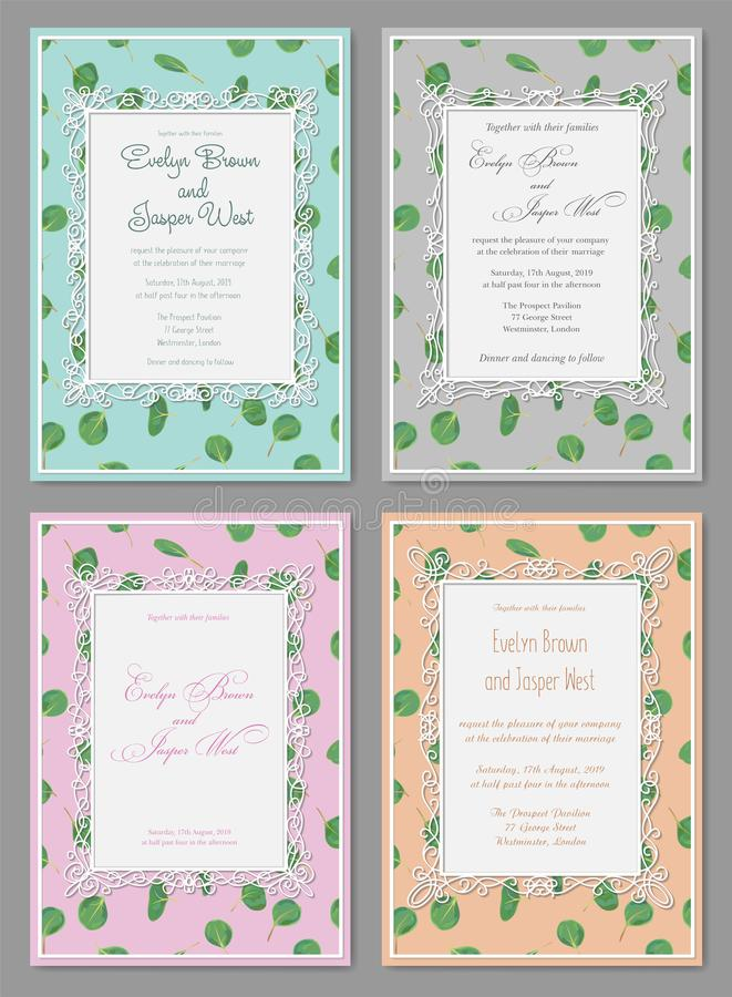 Watercolor hand painted green floral card with silver dollar eucalyptus leaves. Healing Herbs for cards, wedding invitation, post vector illustration