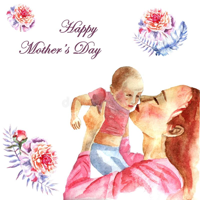 Watercolor hand-painted greeting card Happy Mother`s day royalty free stock photo