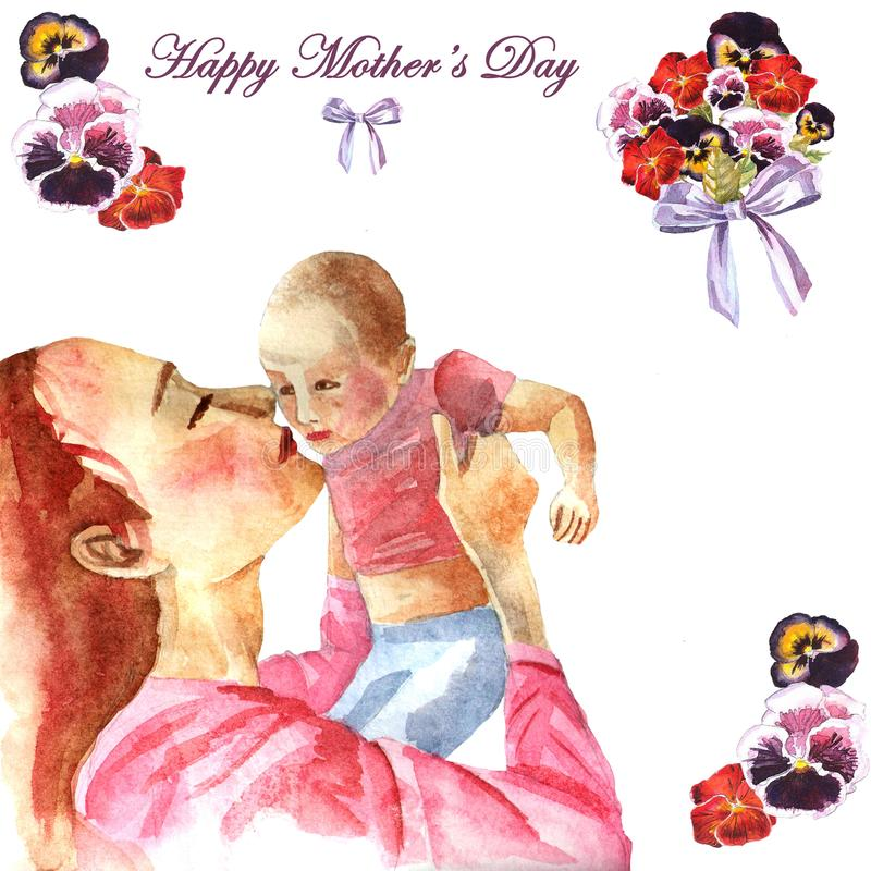 Watercolor hand-painted greeting card Happy Mother`s day stock photo