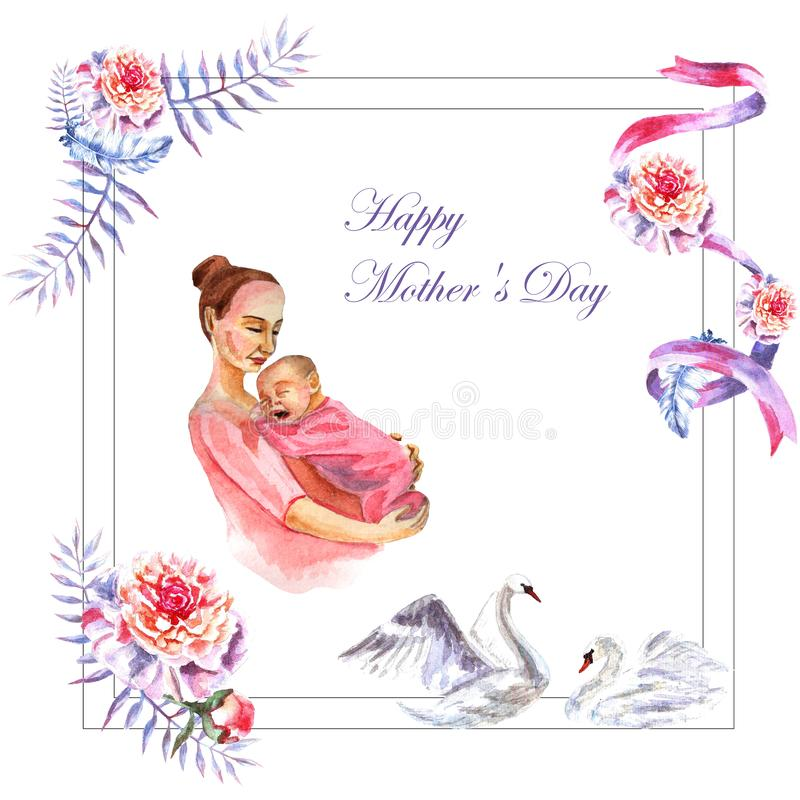 Watercolor hand-painted greeting card Happy Mother`s day stock images