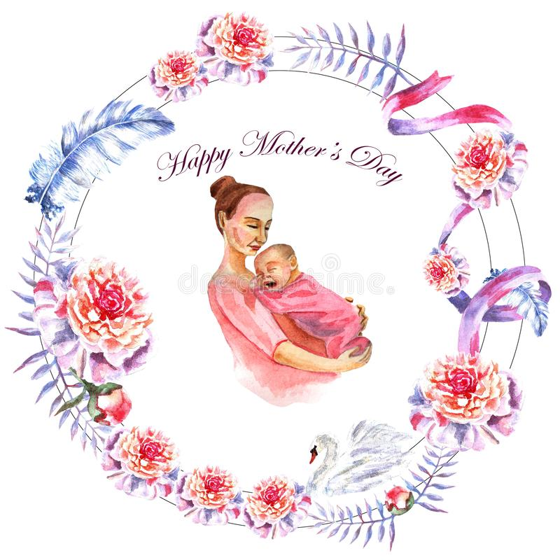 Watercolor hand-painted greeting card Happy Mother`s day stock photography