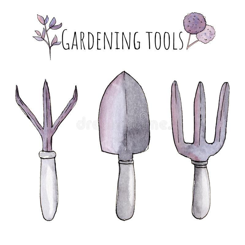 Watercolor Hand painted handpaint set of objects. Pink and purple floral flowers and gardening tools stock illustration