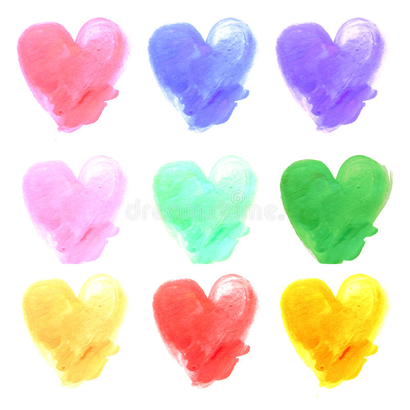 Watercolor hand painted hearts. With stroke brush texture.  royalty free stock photo