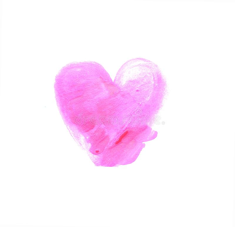 Watercolor hand painted hearts. With stroke brush texture. Valentine.  stock photography