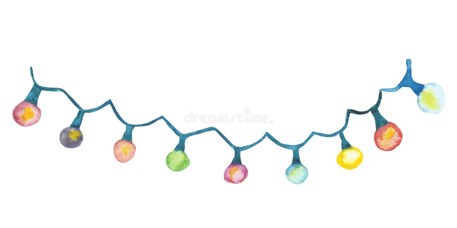 Watercolor hand painted holiday celebration blue garland. With pink, red, yellow, green lights for christmas postcard and invitations on the white background vector illustration
