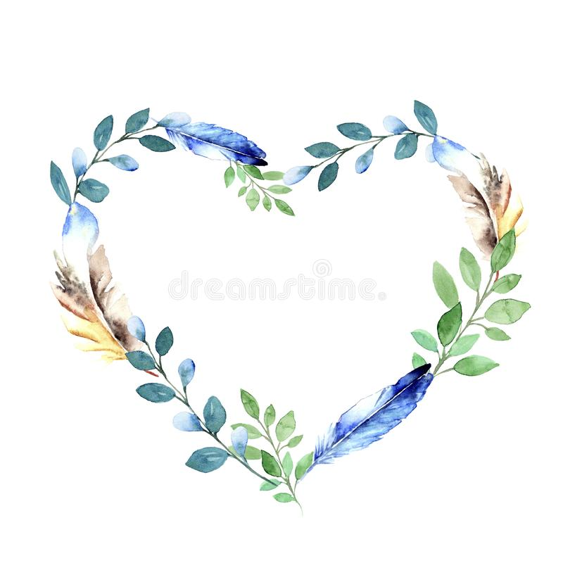 Floral watercolor border with blue and green feathers and green twigs royalty free stock photography