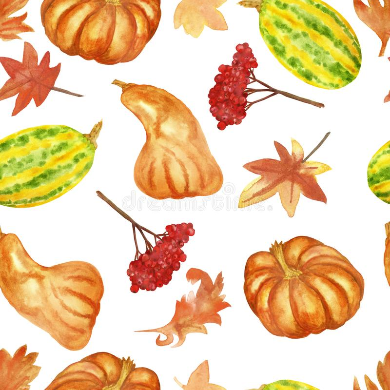 Watercolor hand painted nature autumn seamless pattern with orange and green pupkin, gold maple leaves vector illustration