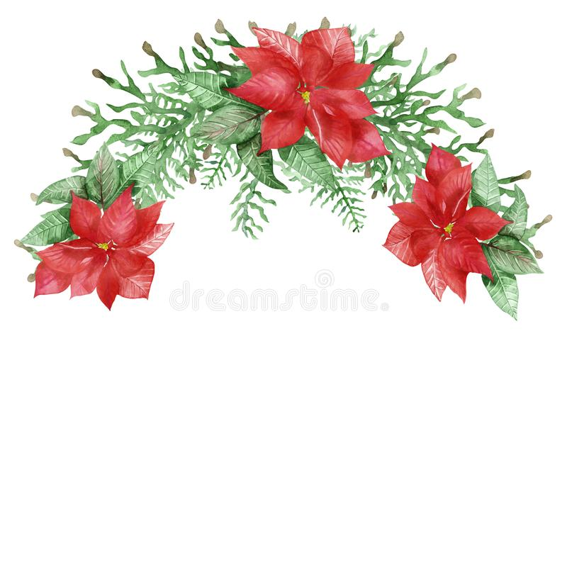 Watercolor hand painted nature christmas half wreath bouquet royalty free stock image